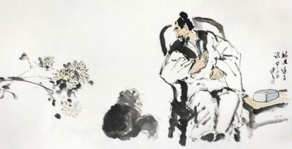 陈漫之四尺猫咪趣味图《秋思道与谁》