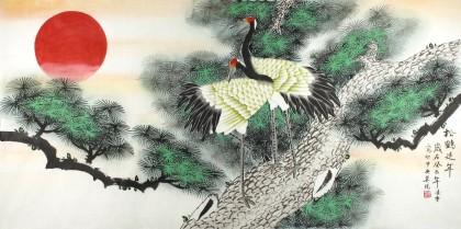 寿比南山等的字画作品,松树经冬不凋,寿龄长久,寓长生等;鹤,在民间被图片