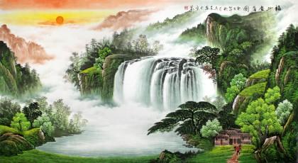 带有瀑布的聚宝盆山水画 - 聚宝盆山水画 - 99字画网
