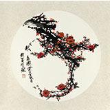 赵亚明三尺圆形国画梅花《报春图》