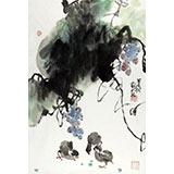 刘纪 四尺三开葡萄大鸡图《硕果吉祥》 河南著名老画家