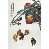 【已售】刘纪 四尺三开祝寿大吉图《福寿吉祥》 河南著名老画家