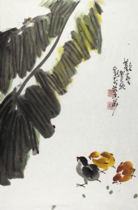 【已售】刘纪 四尺三开芭蕉群鸡图《欢喜》 河南著名老画家图片
