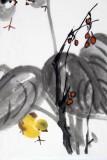 刘纪 四尺三开精品《玉簪小鸡》 河南著名老画家