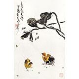 【已售】刘纪 四尺三开莲藕大鸡图《青莲吉祥》 河南著名老画家