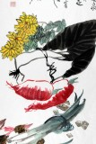 刘纪 三尺果蔬画《蔬香之图》 河南著名老画家