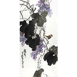 刘纪 三尺葡萄国画《秋声》 河南著名老画家