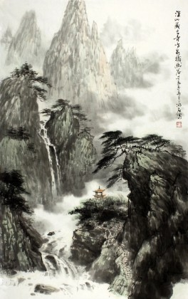 深山藏古寺水墨写意山水画