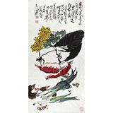 刘纪 三尺葡萄国画《秋声》 河南著名老画家图片