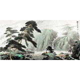 山水画协会副主席程冰石四尺山水画《松石》