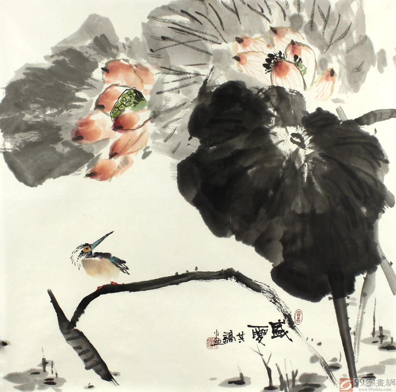 评论员路丰)刘其墉先生的这幅国画荷花《盛夏》,清香久远,荷叶硕大