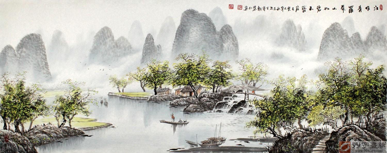 【已售】张慧仁小六尺桂林山水画《江作青罗带》图片