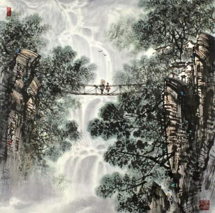 王凌云水墨山水画作品赏析:桃花江畔 深山观瀑