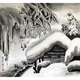 【已售】精品六尺斗方雪景图《瑞雪》