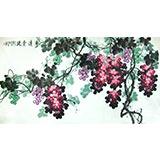 【已售】六尺国画葡萄《珠赏清华》