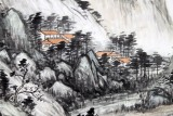 名家刘金河六尺山水国画《柴门起禅心》