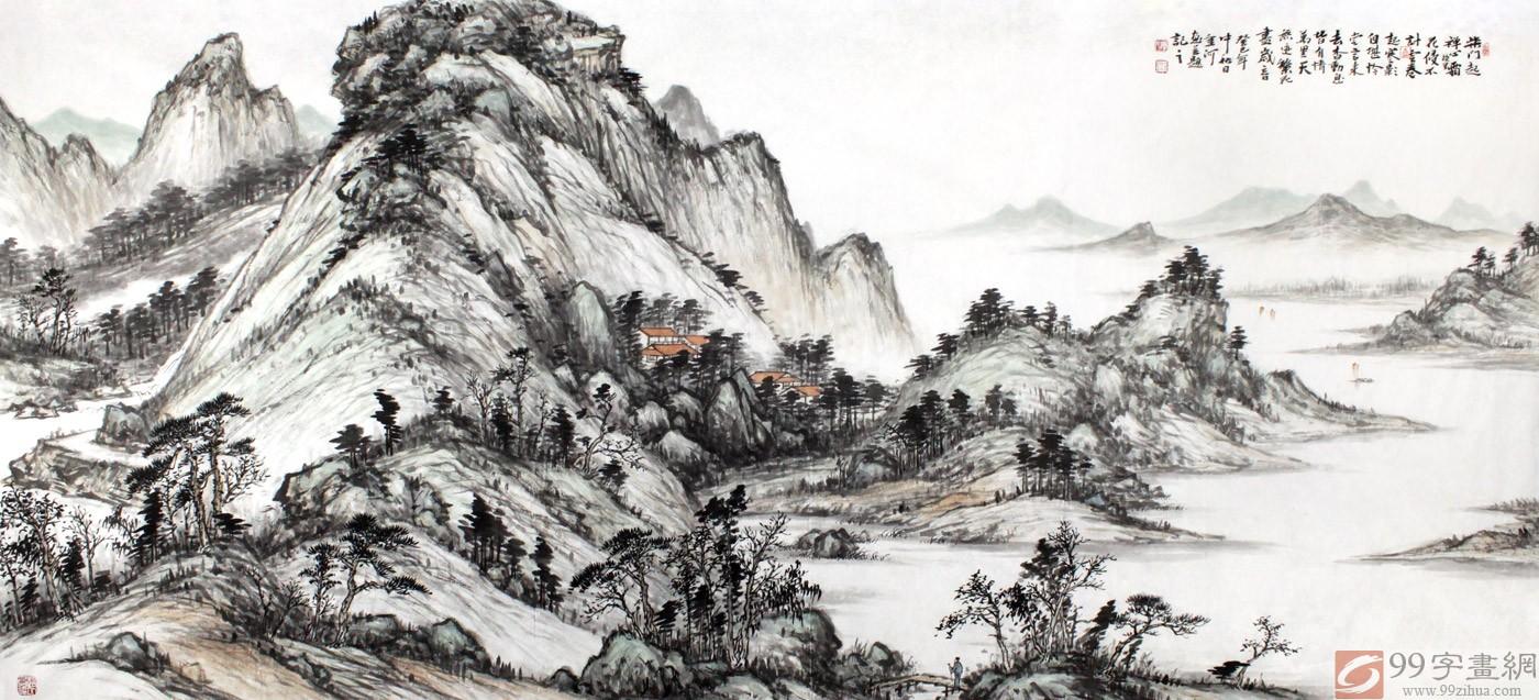 名家刘金河六尺山水国画《柴门起禅心镜里霜》