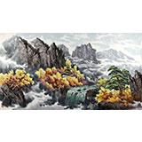 四尺朝鲜国画《金刚山之秋》