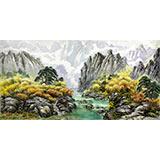 朝鲜一级艺术家 金顺 作品《秋日峡谷》
