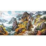 【已售】六尺朝鲜山水画《金刚山之秋》