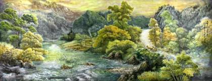 小八尺客厅朝鲜国画《故乡的堤坝》