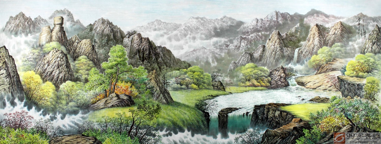 【已售】小八尺朝鲜国画山水《山村风景》