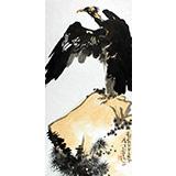 刘纪 三尺老鹫怪石国画《问道》 河南著名老画家