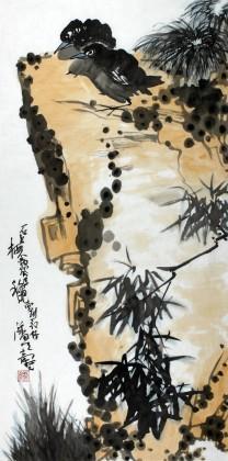 刘纪 三尺作品《石上栖不离》 河南著名老画家图片