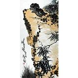 刘纪 三尺作品《石上栖不离》 河南著名老画家