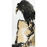刘纪 三尺怪石国画《苍鹰图》 河南著名老画家