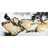 刘纪 三尺竹子画《石上凌风》 河南著名老画家