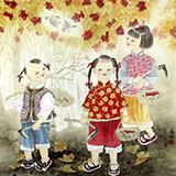 著名工笔画家赵逸梅四尺斗方趣味图《采果图》