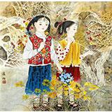 著名工笔画家赵逸梅四尺斗方《姊妹图》