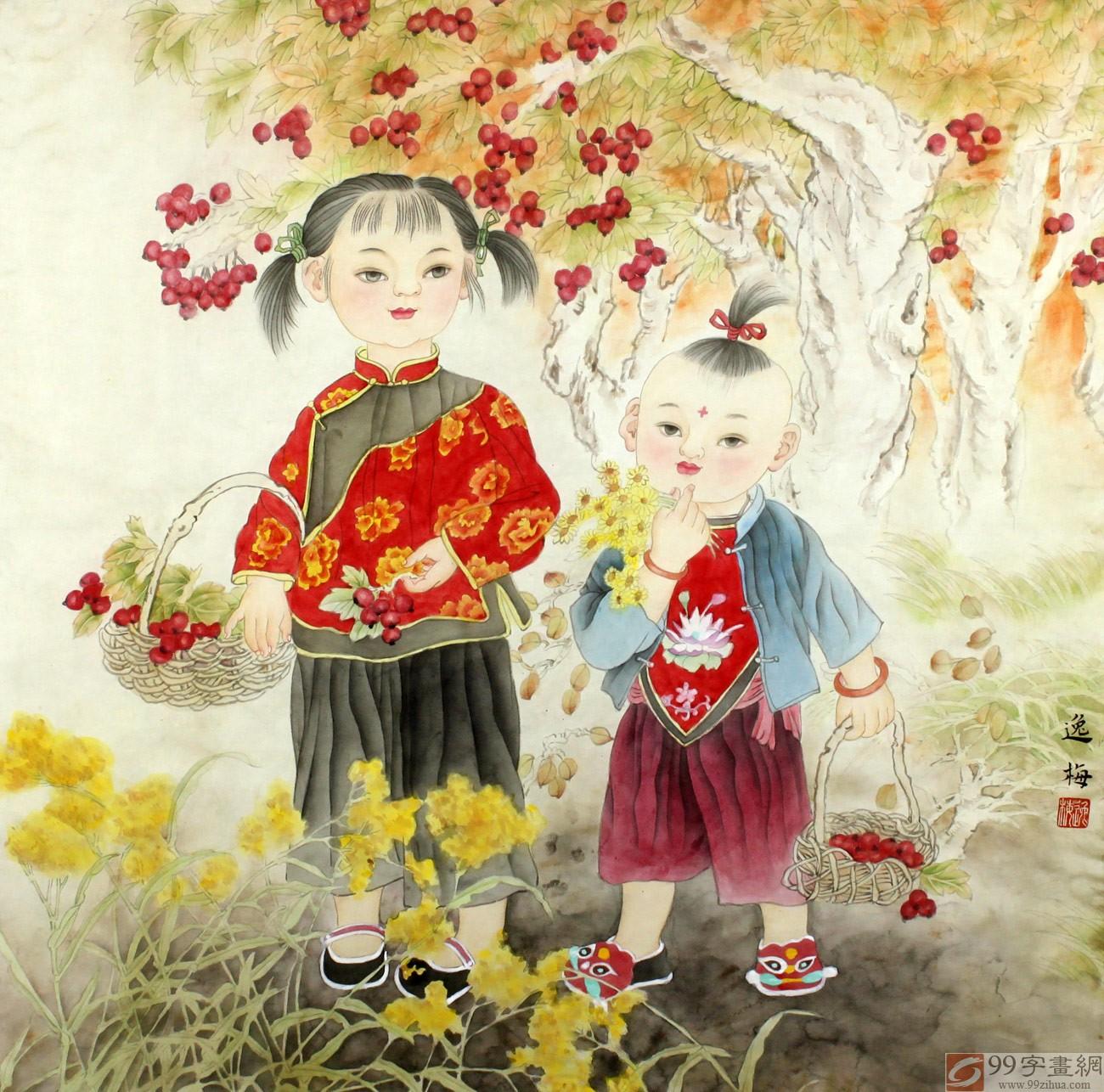 客厅童年趣味画 - 人物画 - 99字画网
