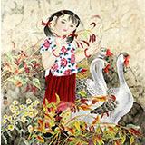 【已售】著名工笔画家赵逸梅四尺斗方《童趣》