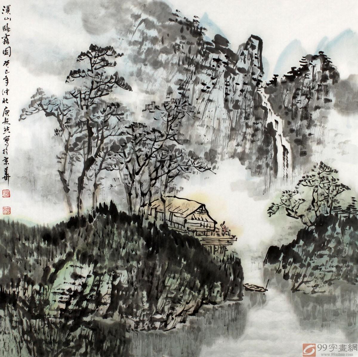 线条和丰富多变的笔墨描绘的山川河流意境深远,树木饱含生机,房屋坐落