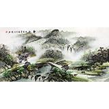 【已售】四尺青绿山水画《春韵》