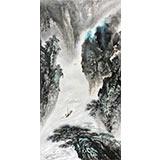 著名画家王凌云四尺山水画《一帆风顺》