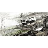 黄奇松四尺江南风景画《绿遍山原白满川》