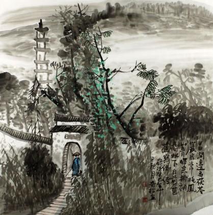 黄奇松四尺斗方国画山水《日涧边寻茯苓》