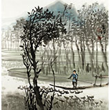 黄奇松三尺斗方山水国画《放鸭图》