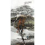 黄奇松三尺国画山水《秋江放鸭》