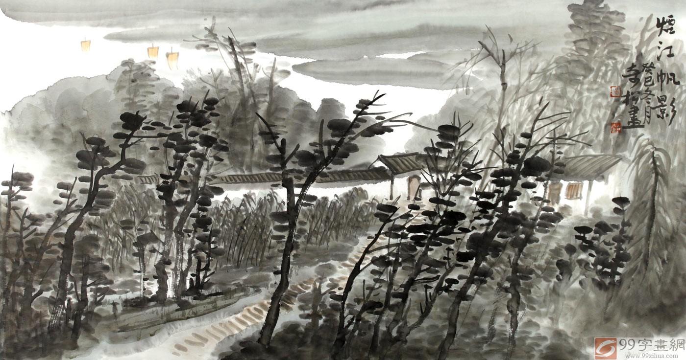 玄关烟江帆影水墨山水画 - 写意山水画 - 99字画网