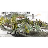 黄奇松三尺国画山水《碧云天 黄叶地》