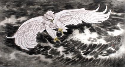 葛化帅六尺雄鹰展翅图《搏风击浪》