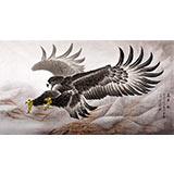 【已售】葛化帅六尺励志国画鹰《万里一击》