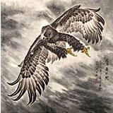 葛化帅六尺斗方工笔鹰《鹰击长空》