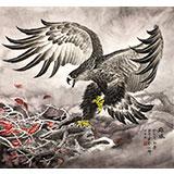 【已售】葛化帅六尺斗方雄鹰展翅《雄风》