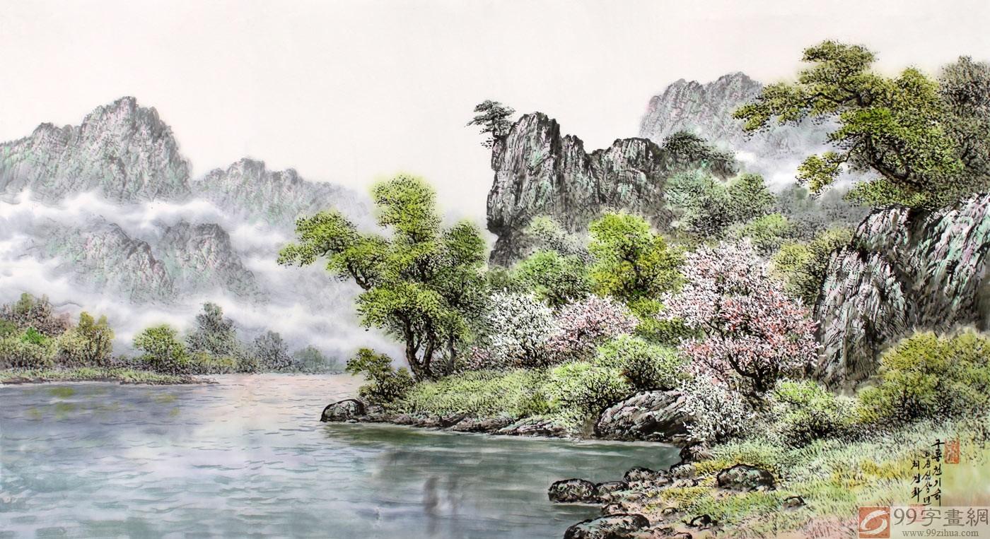四尺朝鲜风景画 - 朝鲜国画 - 99字画网