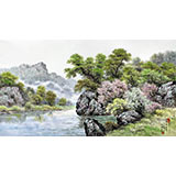【已售】朝鲜一级艺术家 蔡京华 作品《九龙川》